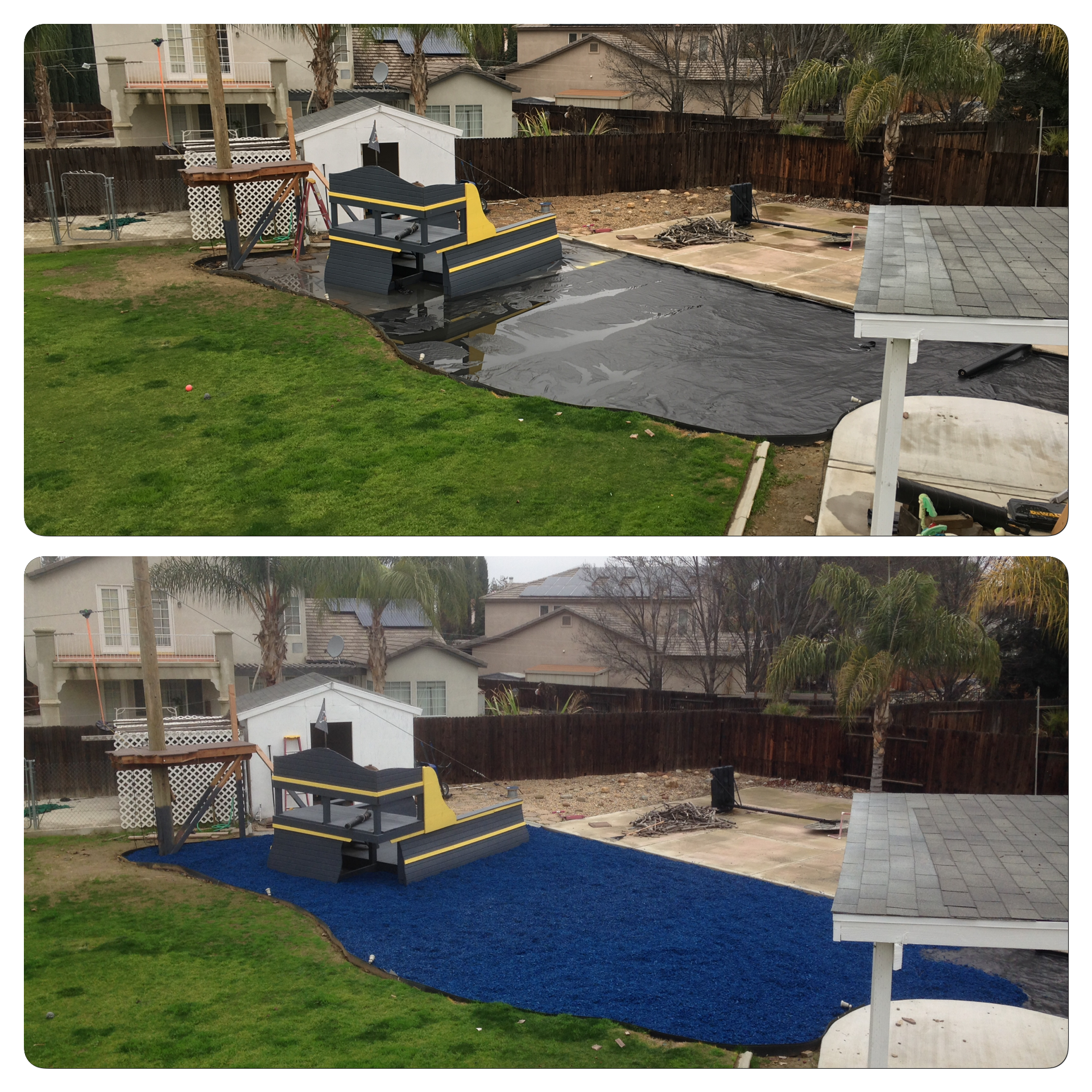 before and after of blue rubber mulch playground with sunken