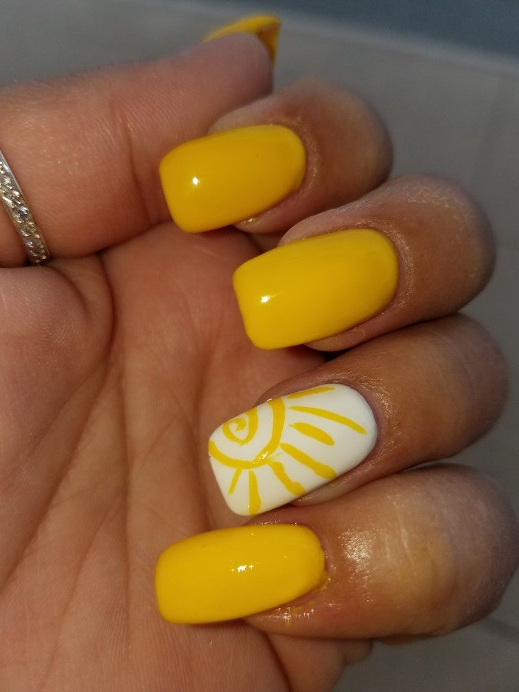 You Are My Sunshine Nails Cruise Nails Sun Nails Short Acrylic Nails