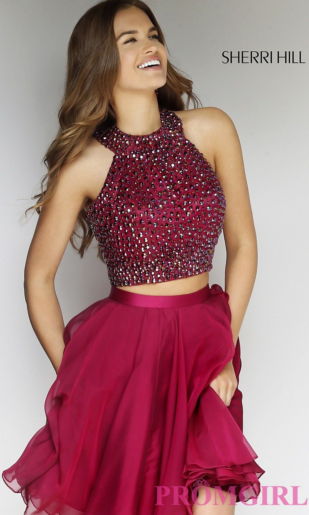 Short High Neck A-Line Two Piece Dress by Sherri Hill | Sexy ...