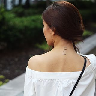 Stacked Lines Subtle Tattoos Beauty Tattoos Neck Tattoo