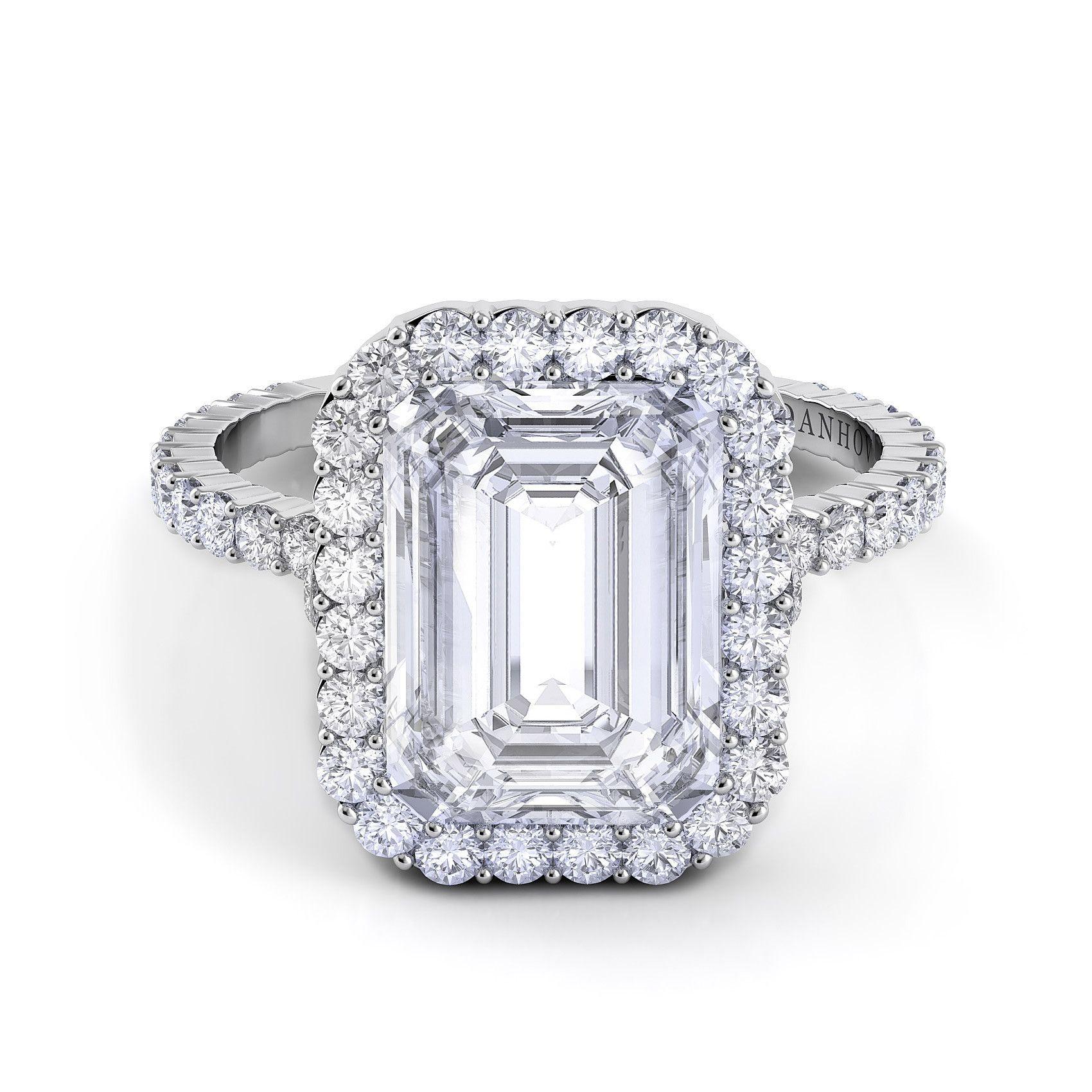 danhov carezza emerald cut diamond engagement ring with halo