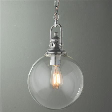 Clear Glass Globe Industrial Pendant   3 Finishes   Great Hallway Lights  (mount Flush)   Over Island