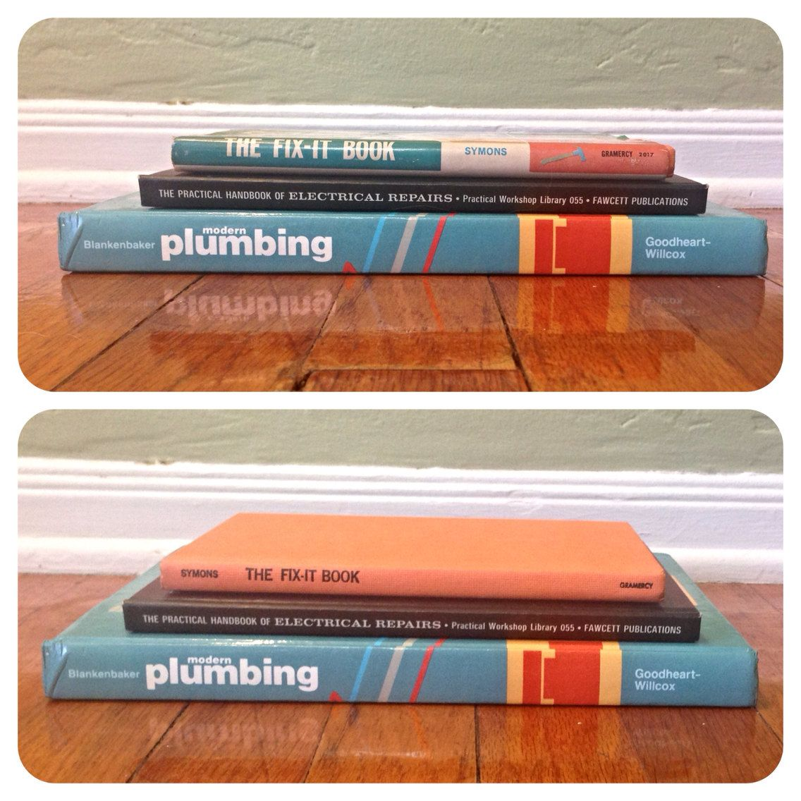 Vintage 1960s set of 3 home repair fix it books blue and orange items similar to vintage 1960s set of 3 home repair fix it books blue and orange plumbing electrical do it yourself diy mr fix it handy man vintage retro solutioingenieria Gallery