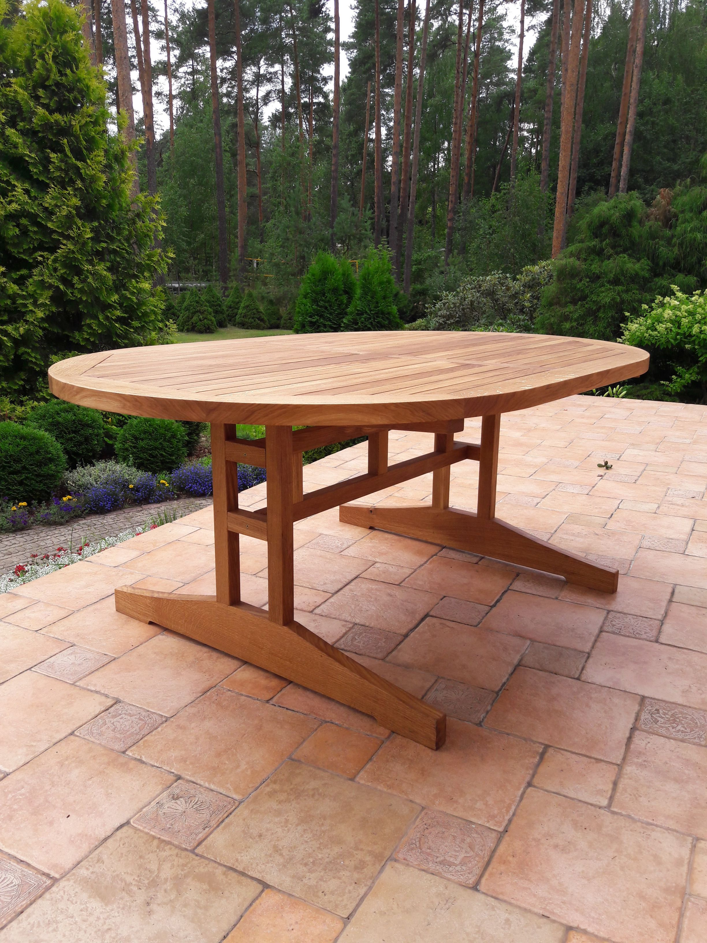 Oak patio table tung tree oil finish traditional joinery lasts forever