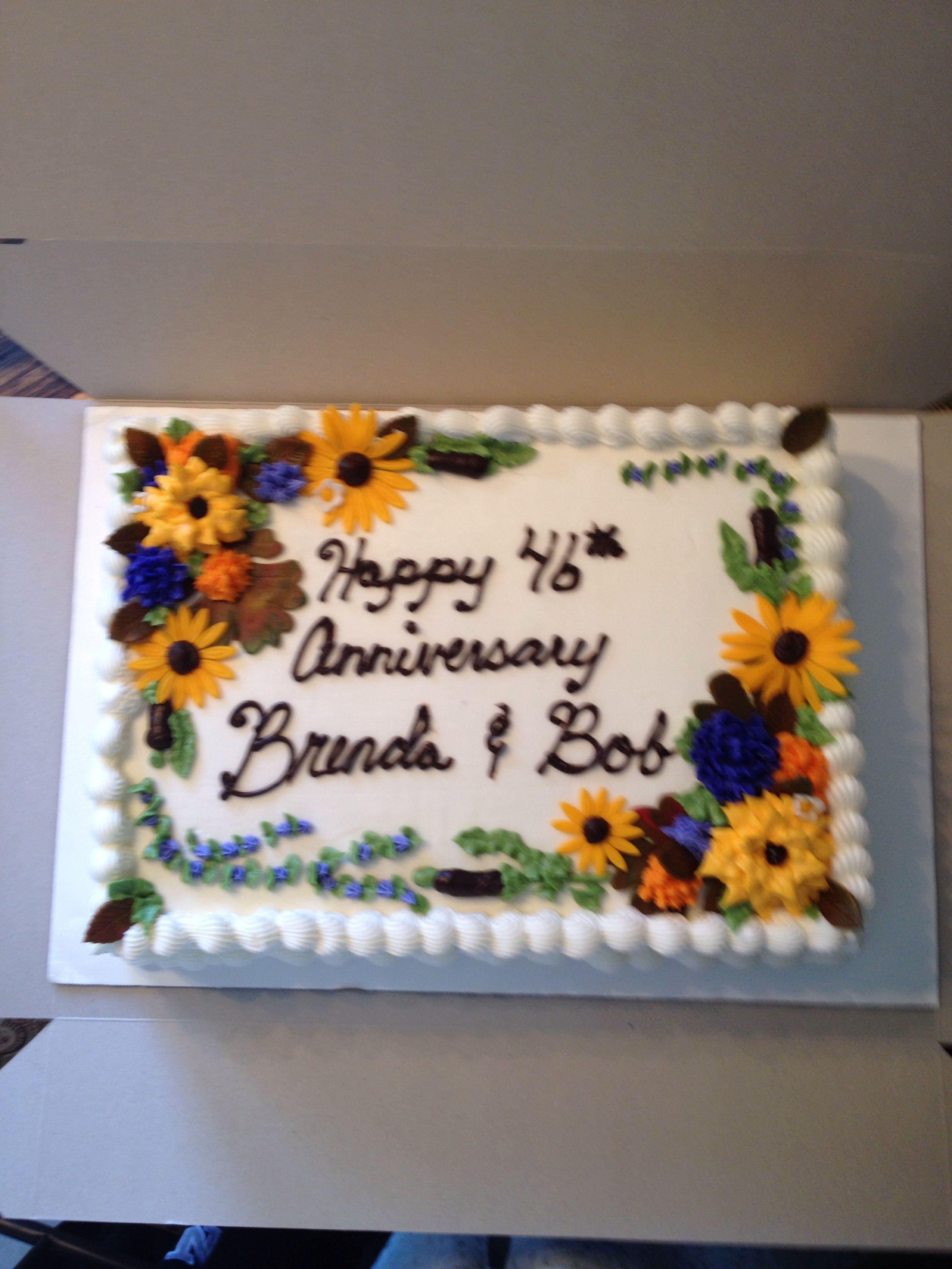 Fall Flowers Anniversary 1 2 Sheet Cake Sunflower Birthday Cakes