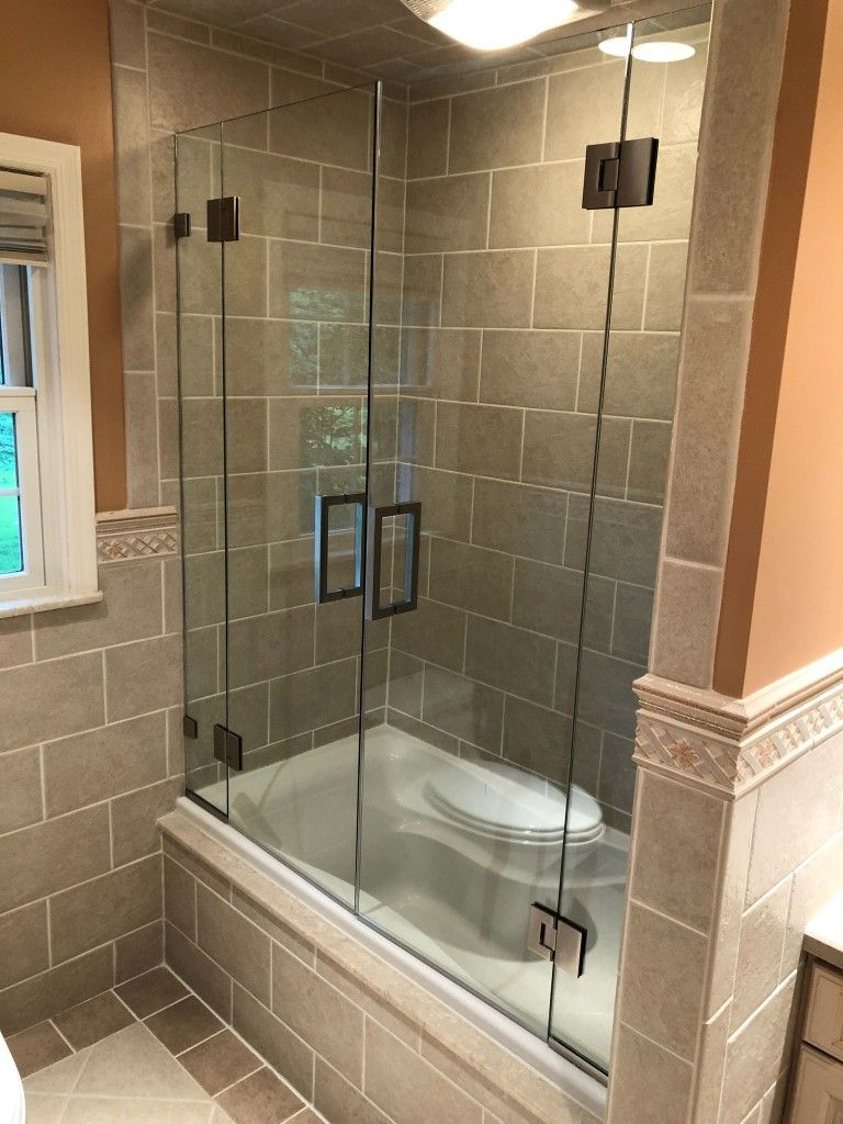 Frameless French Doors Tub Enclosure Designed And Installed In Califon Nj By Exceptional Glass 2019 With Images Frameless Shower Doors Tub Enclosures Glass Shower Doors