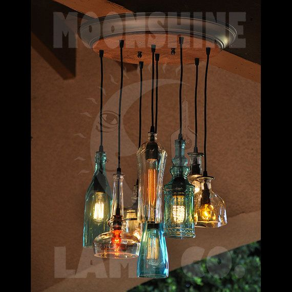 The glendora recycled bottle light chandelier recycled bottles the glendora recycled bottle custom glass chandelier lamp love those colors perfect for an outdoor living room mozeypictures Image collections