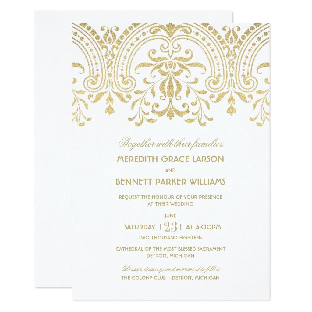 Elegant Gold Vintage Glamour Wedding Invitation Zazzle Com Gold Wedding Invitations Wedding Invitations Vintage Wedding Invitations