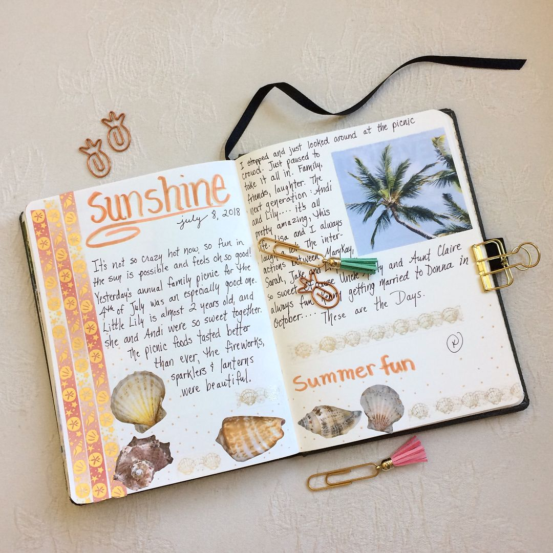 Journaling By Kathy July 2018 More On Instagram Kathrynzbrzezny Sketchbook Journaling Diary Book Bullet Journal 2