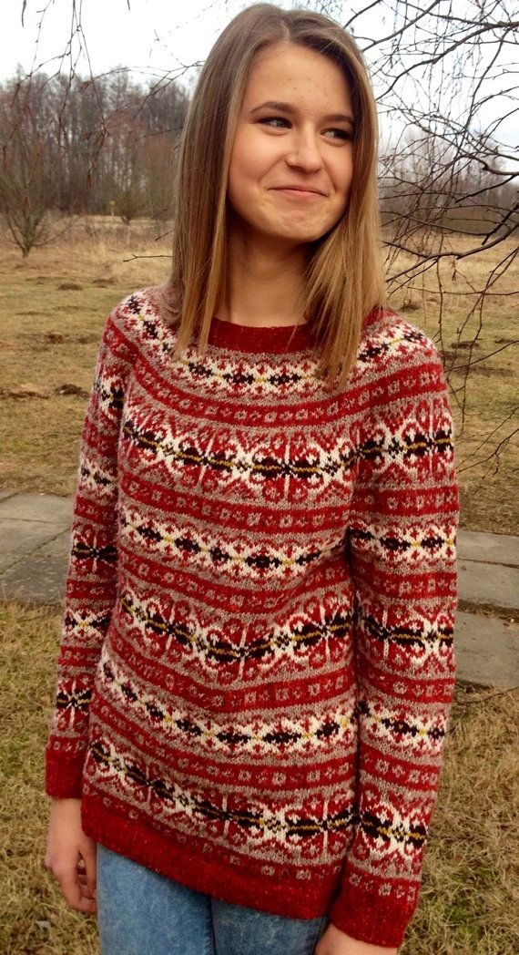 Fair Isle sweater Red sweater Iceland sweater Womens от adaLV ...