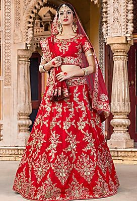 1cfac36119 Craftsvilla Ruby Red Color Silk Embroidered Lehenga Choli | 8 ...