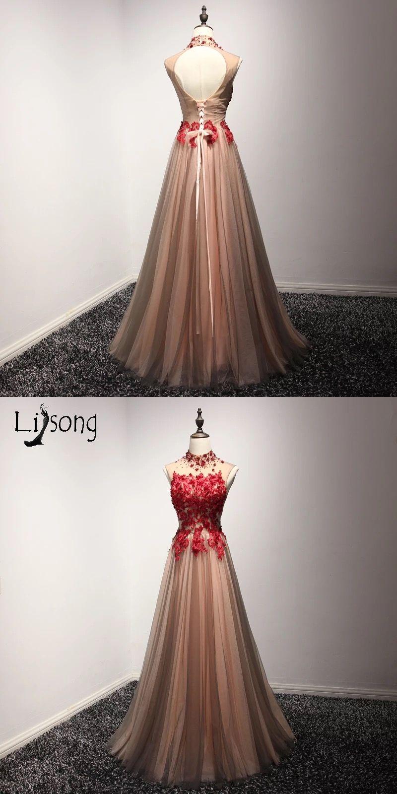 High neck red floral appliques evening dresses long vestido de noiva