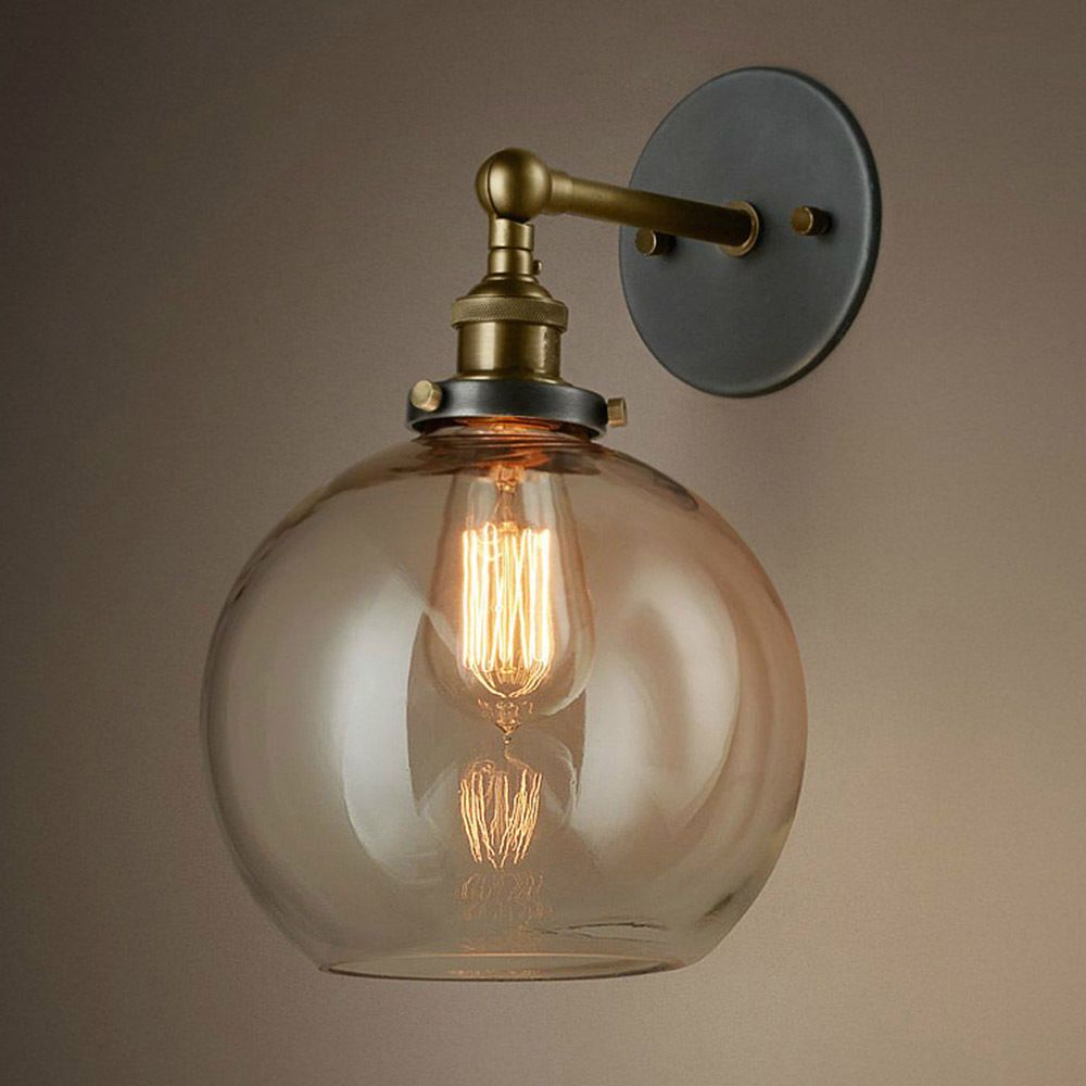 Industrial Retro Glass Shade Ball Wall Lamp Fixture Sconce Light