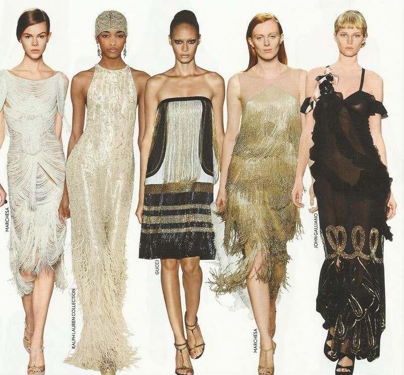20er Jahre Mode in Gold - Cocktailkleider mit Rüschen und Fransen ...