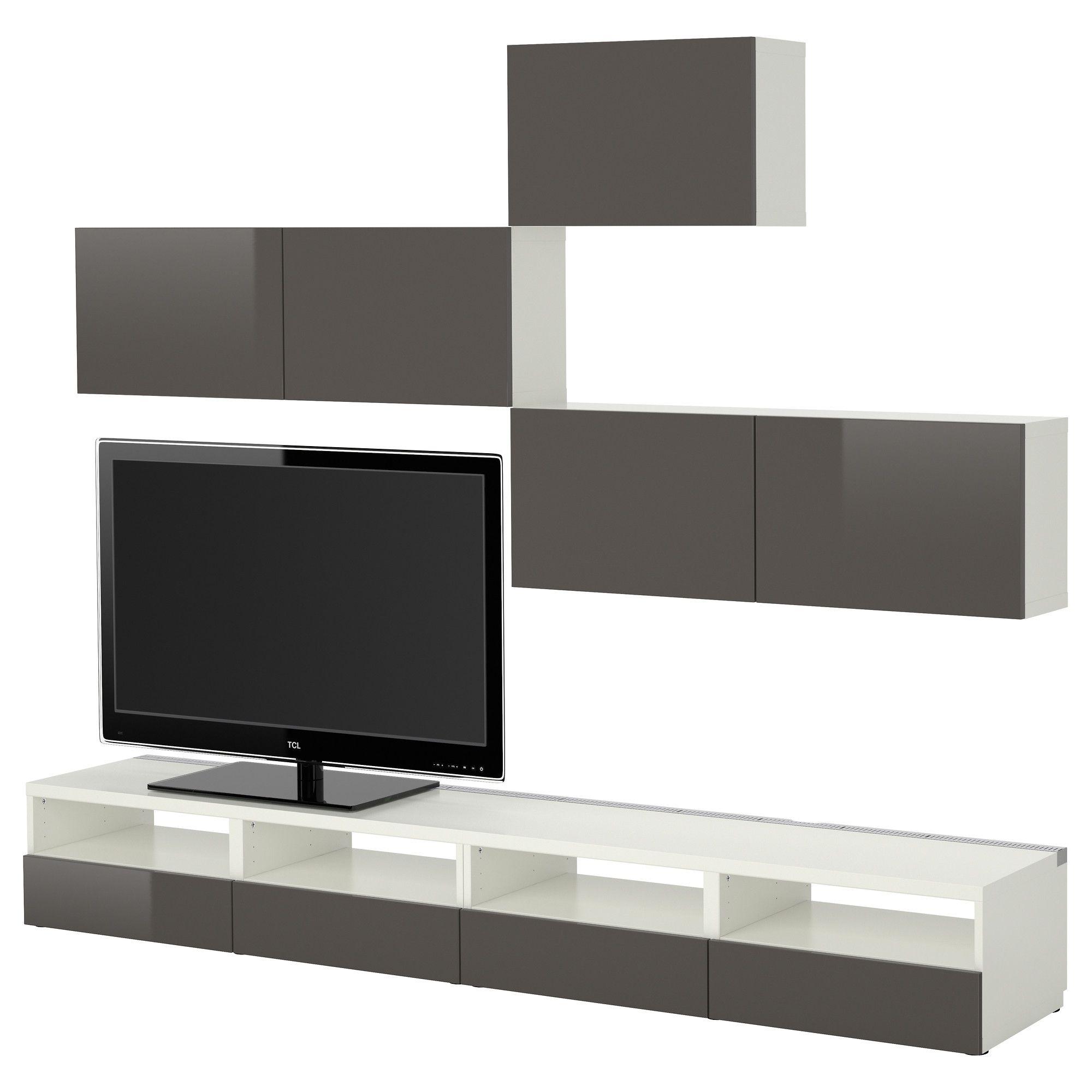 BESTÅ TV Storage Combination   White/Tofta High Gloss/gray   IKEA Tv