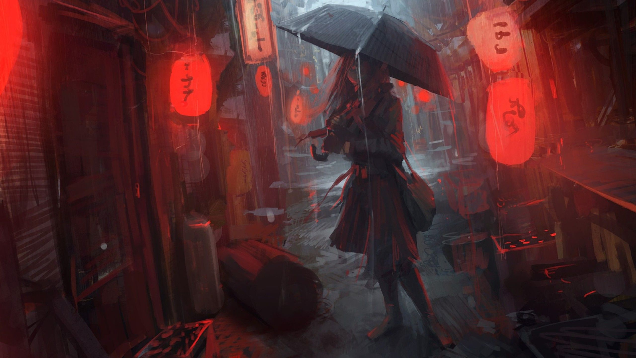 Lost In Rain Umbrella Illustration Digital Art Anime Umbrella Girl