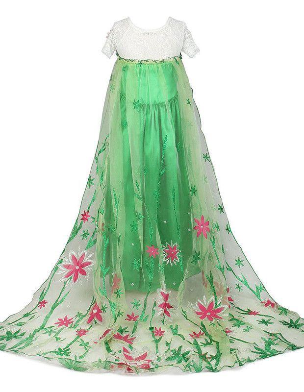Girls Deluxe Frozen Fever Princess Elsa Green Dress Halloween - green dress halloween costume ideas