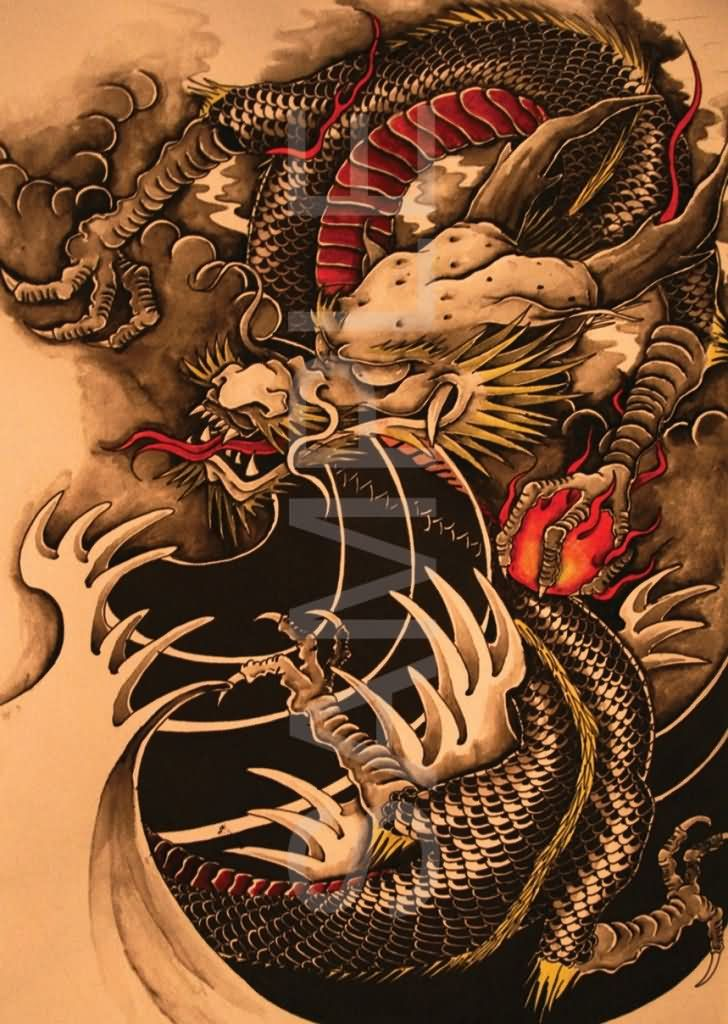 Wonderful Traditional Chinese Dragon Tattoo Design