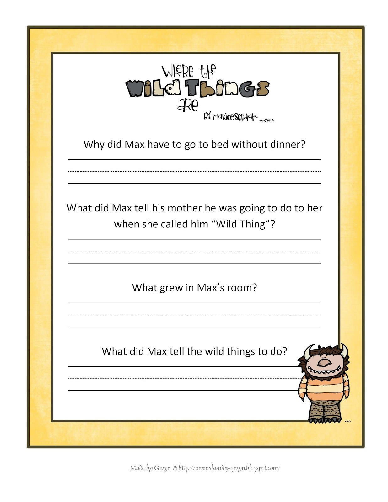 Where The Wild Things Are Printable