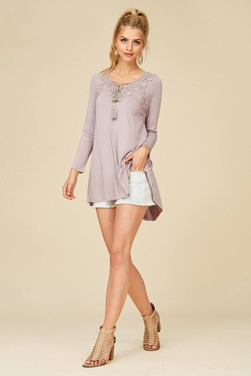 417cda0abd02a The Anything Is Possible Mocha Brown Lace Long Sleeve Tunic Top is the talk  of the