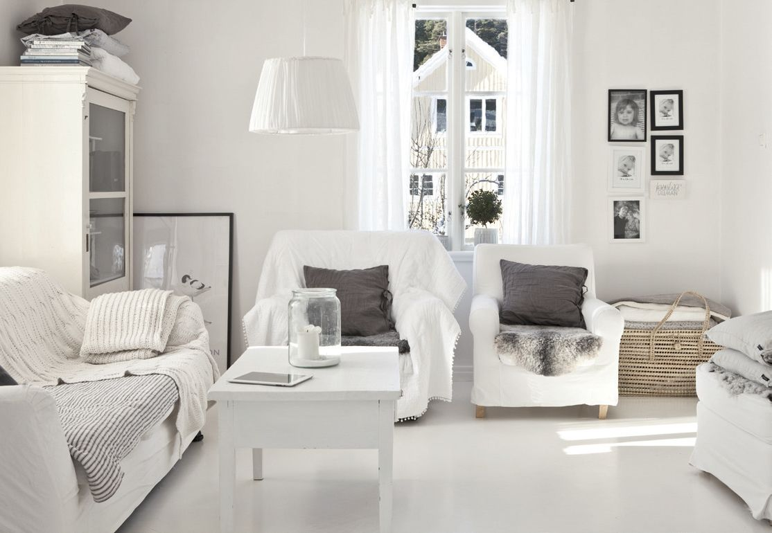 Inspiring Scandinavian Home Interior Designs Cozy Stylish White Living Room Design With Comfortable Seating Nice Small Wooden Coffee Table