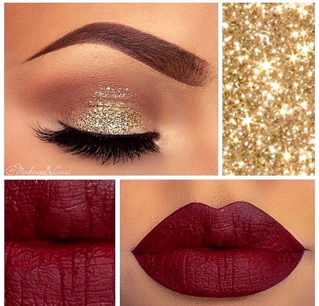 Dark Red Lips And Gold Eye Shadows For Christmas Burgundy Makeup