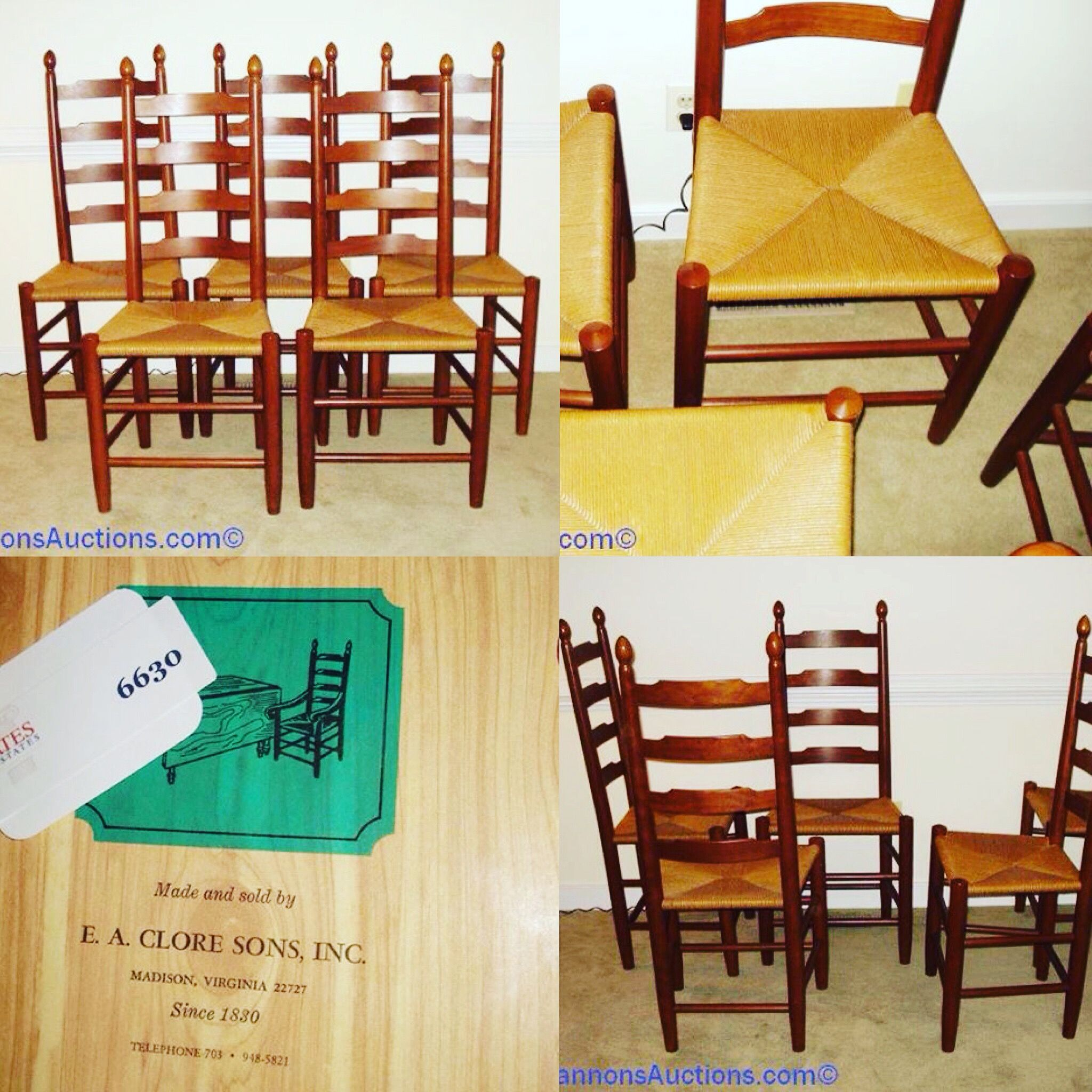 Five Solid E.A. Clore Sons Cherry Ladder Back Chairs With Rush Bottoms.  Bids Close