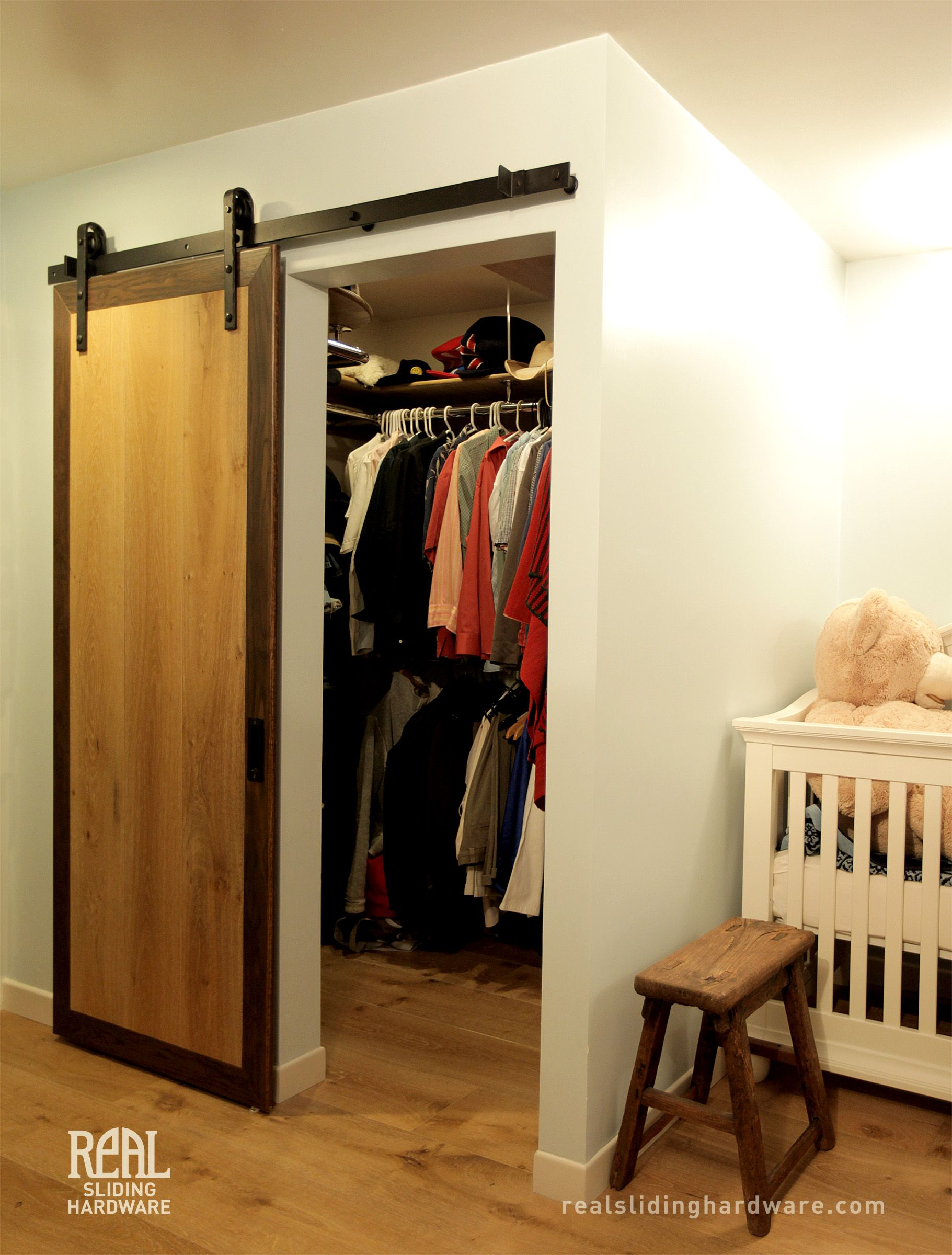 closet sliding barn door master walk in house ideas. Black Bedroom Furniture Sets. Home Design Ideas