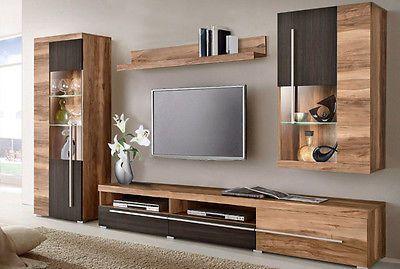 Ebay Angebot Wohnwand Anbauwand 4tlg Mit Lowboard Satin Nussbaum Darkwood Wenge Neu 379591 Modern Tv Wall Units Tv Cabinet Design Modern Living Room Tv Unit