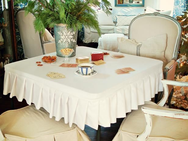 Ruffled Card Table Slip Cover Dress Your Dining Room Like A Pro Gt