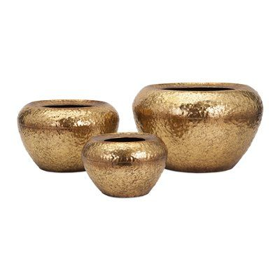 Imax Worldwide 65186 3 Vidalia Gold Leaf Planter Set Of 3 Metal Flower Pots Metallic Gold Leaf Decorative Planters