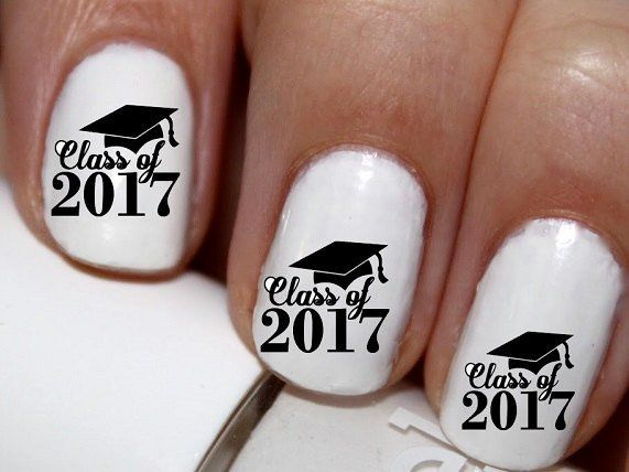 20 Pc Class Of 2017 Graduation Nail Art Nail Decals Nail Stickers