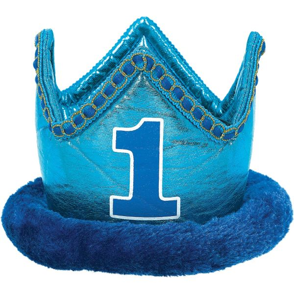 Small Blue 1st Birthday Plush Crown 1st Boy Birthday 1st
