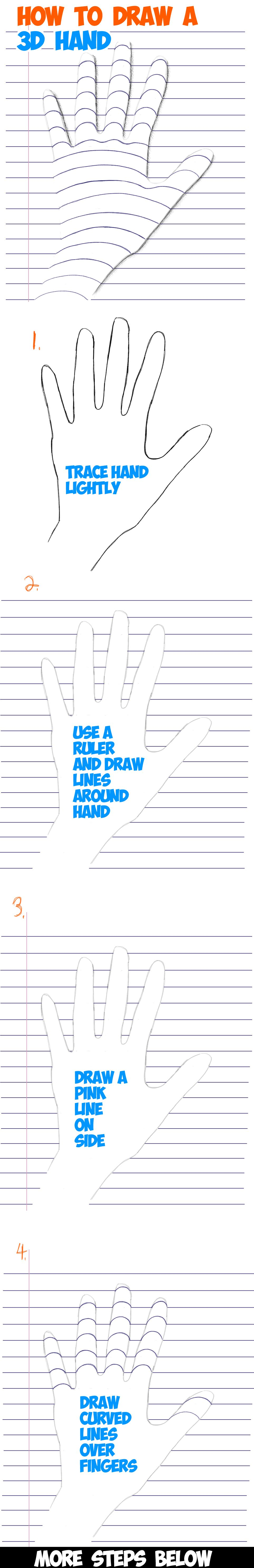 Learn How To Draw A 3d Hand On Notebook Paper  Step By Step Drawing Trick