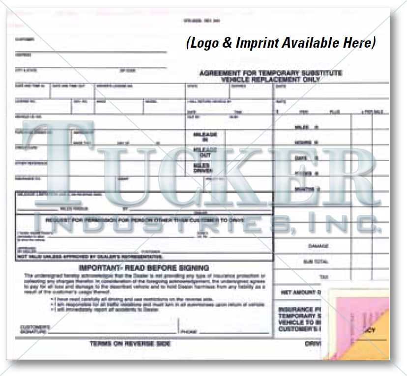 Substitute Vehicle Agreement (Imprinted) This generic rental - short term rental contract form