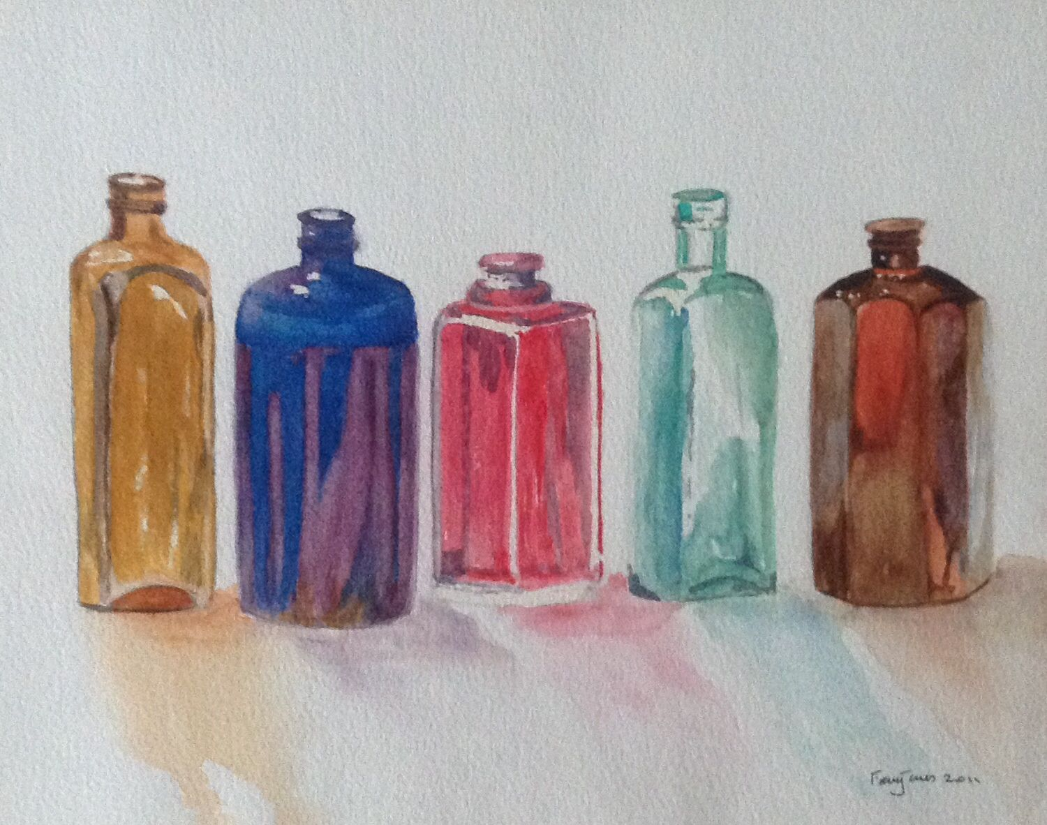 Watercolour Of Reflections In Glass Bottles By Fran Jones From A