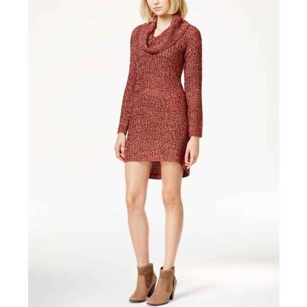 Ultra Flirt Juniors' Marled Cowl-Neck Sweater Dress ($25) ❤ liked ...
