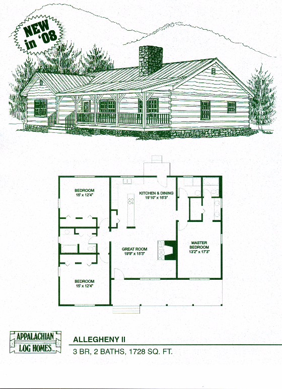 Allegheny Ii 3 Bed 2 Bath 1 Story 1728 Sq Ft Appalachian Log Timber Homes Hybrid Home Floo Log Home Floor Plans House Floor Plans Cabin House Plans