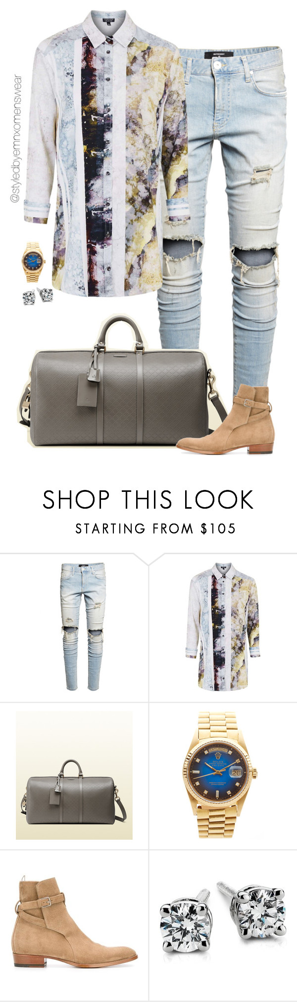 """""""I blow a bag a day"""" by efiaeemnxo ❤ liked on Polyvore featuring Topshop, Gucci, Rolex, Yves Saint Laurent, Blue Nile, men's fashion, menswear, mens, MensFashion and sbemnxo"""