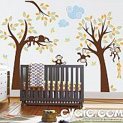 Monkey Tree Wall Decal – Nursery Decoration – evgie