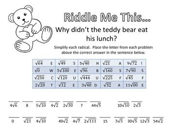 Riddle Me This... Simplifying Radicals Easy | - Math ...