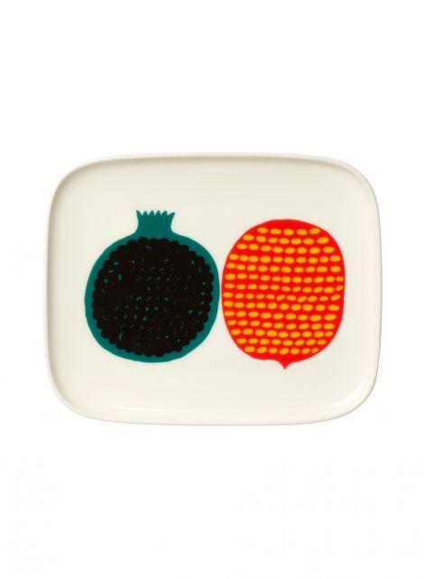 Oiva/Kompotti-lautanen (valkoinen, vihreä, punainen) |Sisustustuotteet, Keittiö, Posliinit, Lautaset | Marimekko