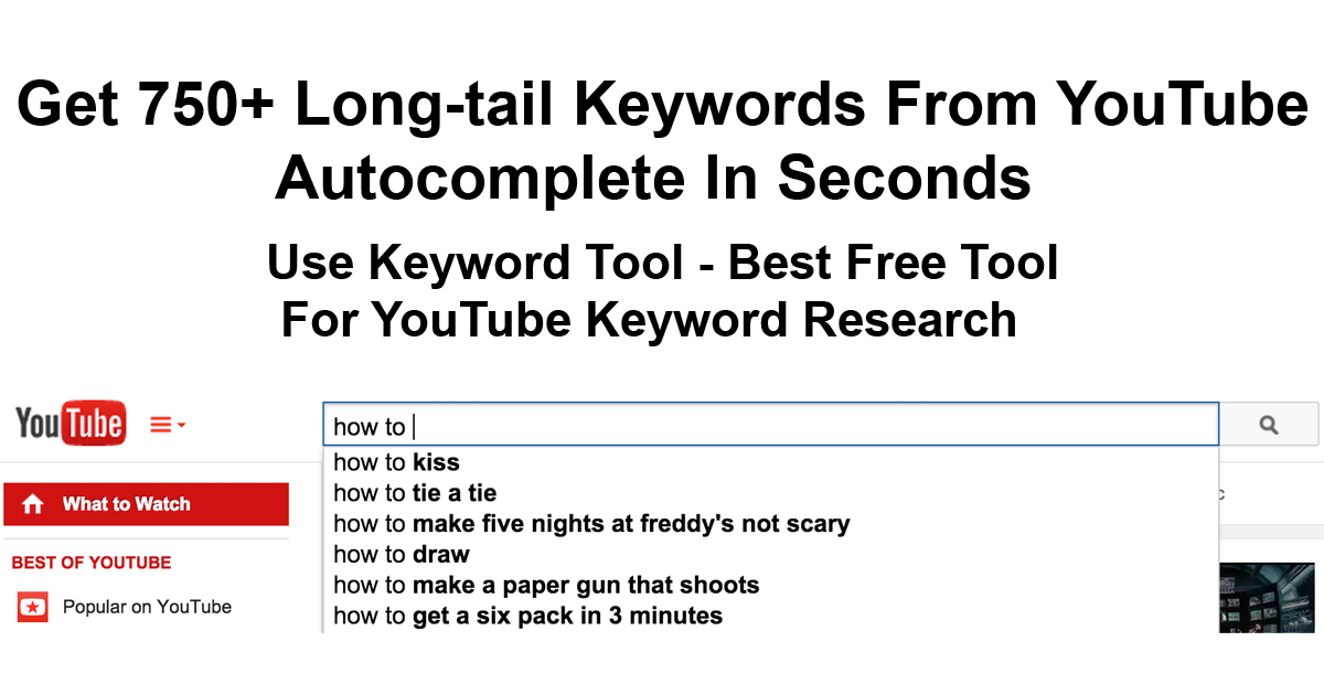 Best Free Tool That Helps To Find Hundreds Useful Keywords For Youtube Video Optimization Keyword Tool Youtube Keywords