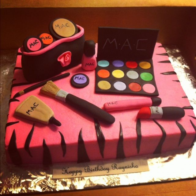 Birthday Cake Photos MAC Makeup Cake with Zebra Print Stripes