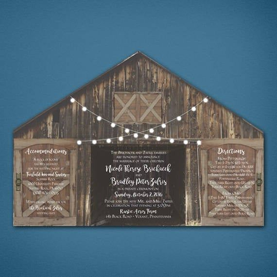 Rustic Door Wedding Ideas: Rustic Barn Wedding Invitation With Folding Doors And