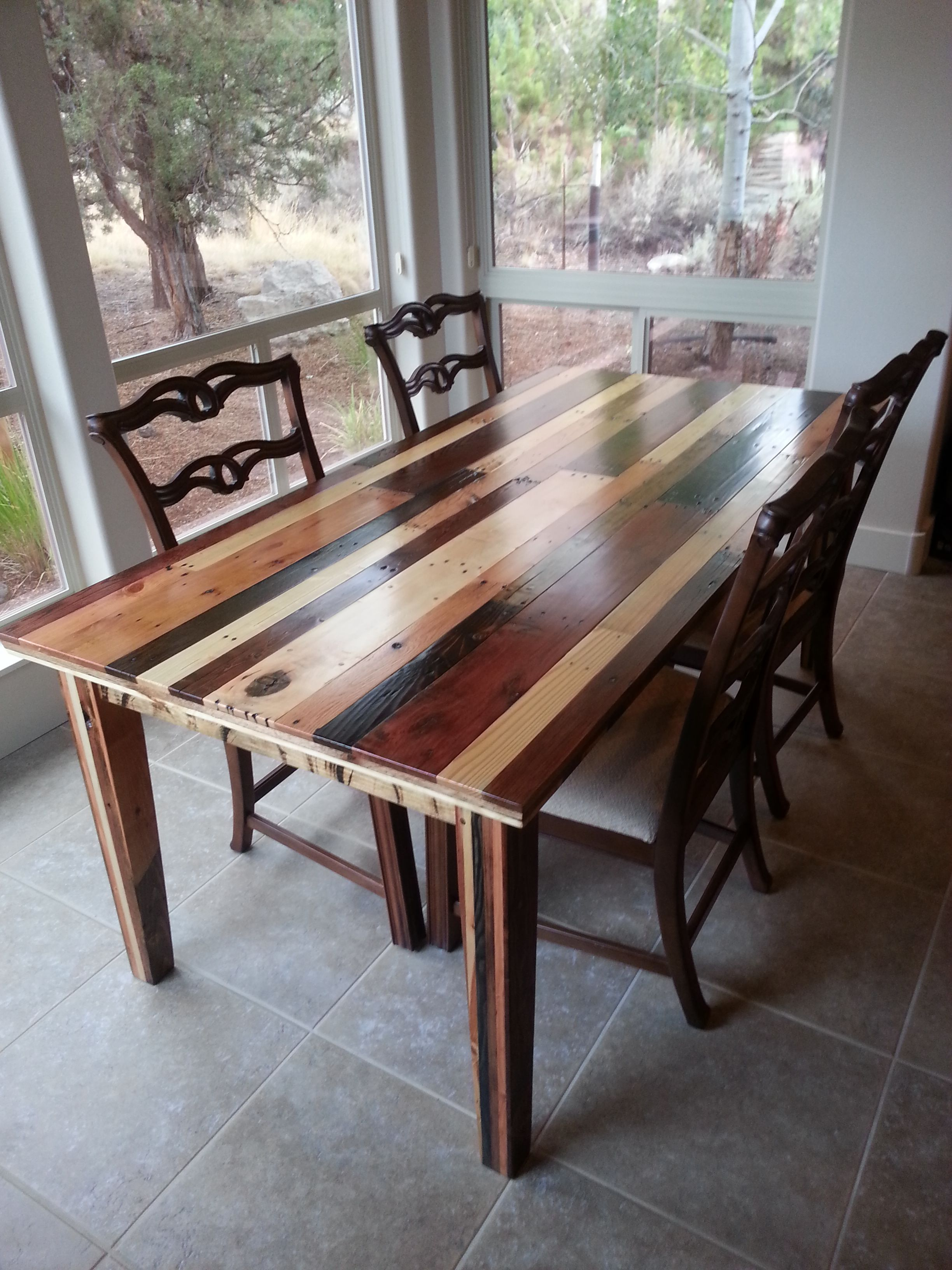 Dining room table i made from pallet wood pallet wood for How to make a pallet kitchen table