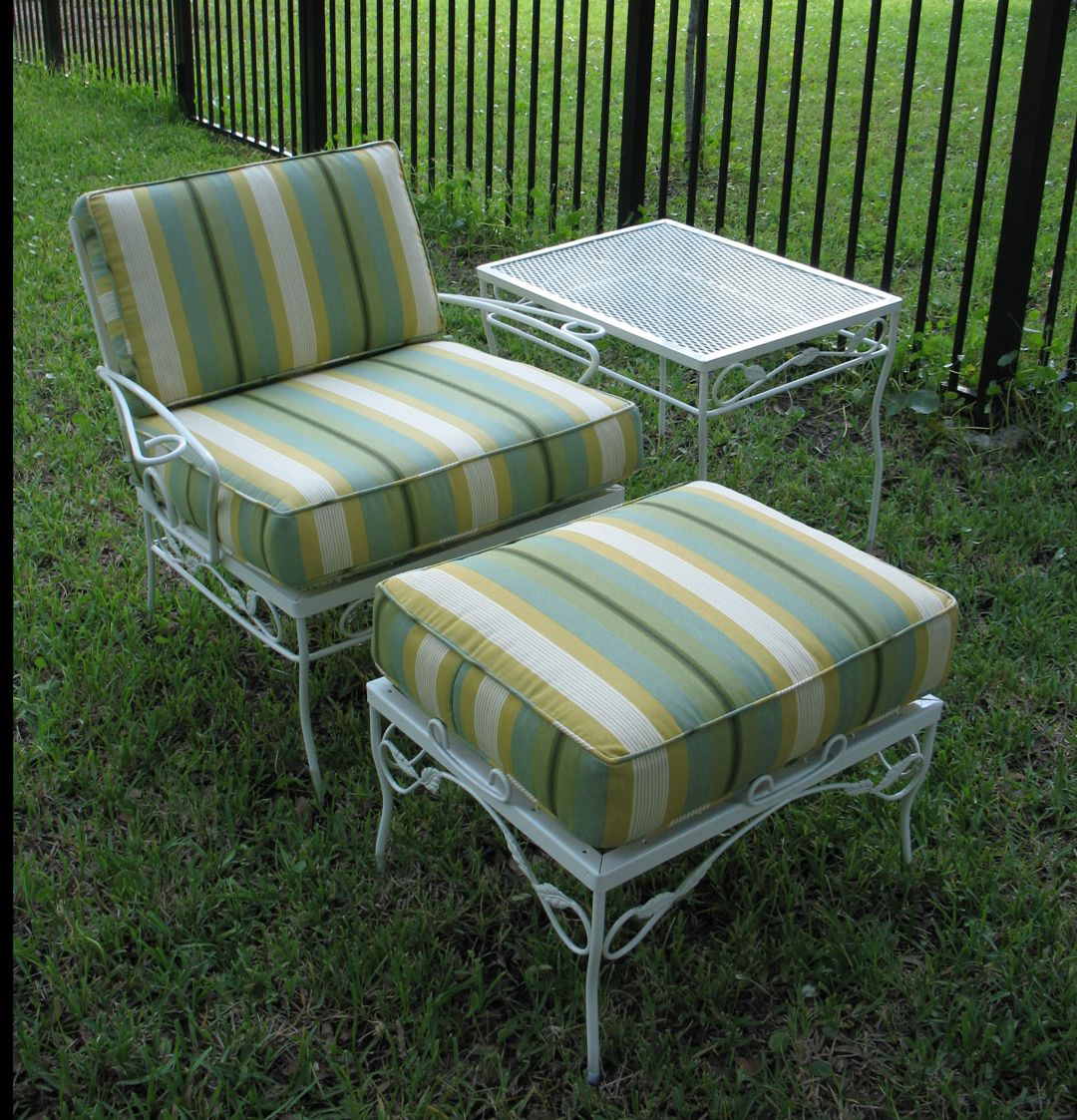 Wrought iron patio chairs vintage - Exterior Adorable Metal Patio Chairs Retro Decoration With Stunning White Iron Material And Comfortable Green Beige Plus Black Striped Thick Padded Seat