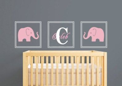 Elephant Name Nursery Personalized Name Baby by Clarkwallartdecal