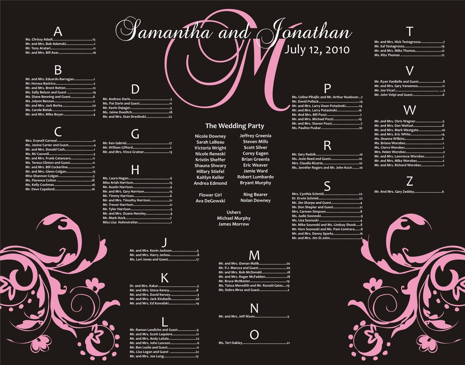 Wedding Seating Board Digital File Table By Charmingpapershop