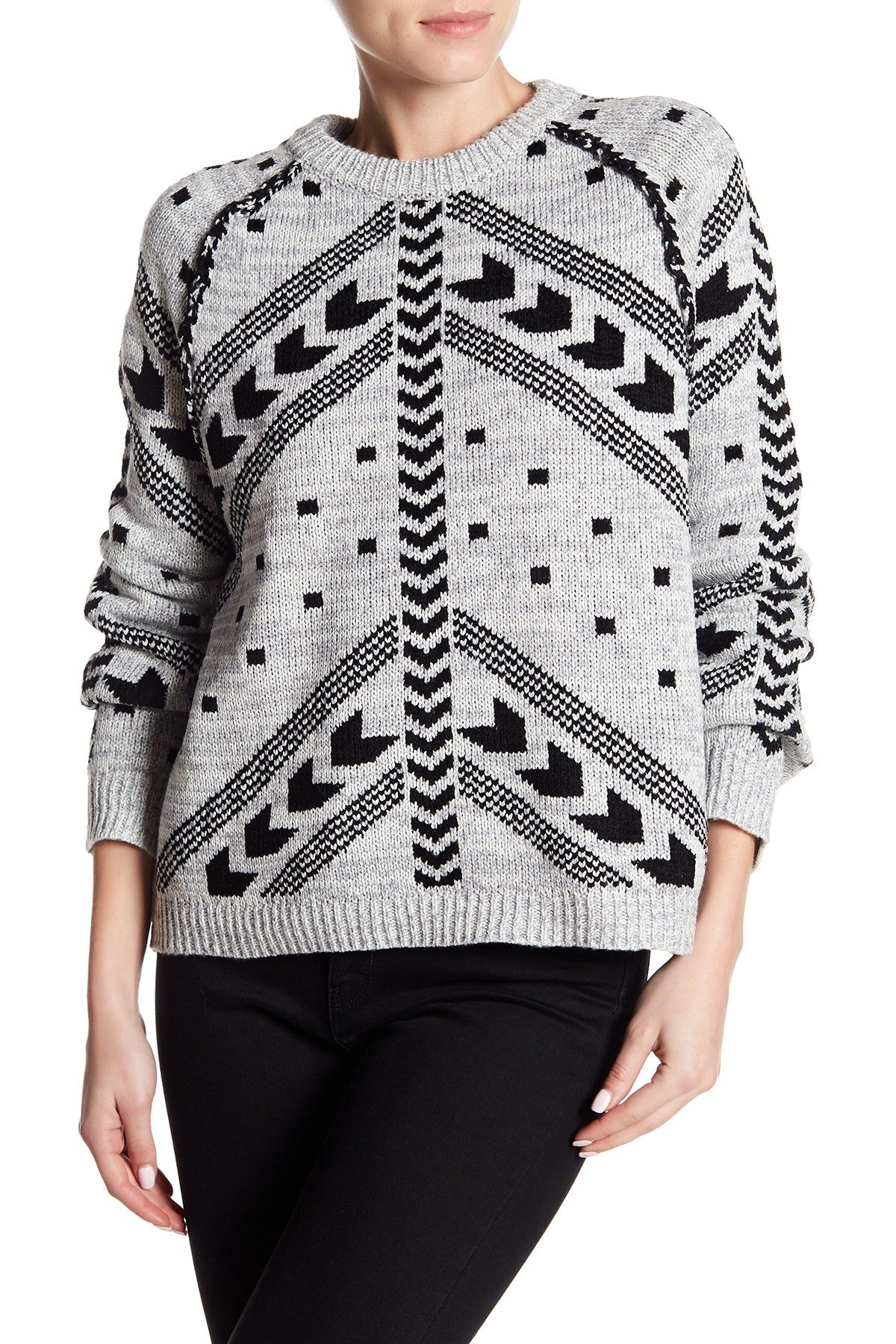 Line Pattern Print Pullover Pullover, Clothes